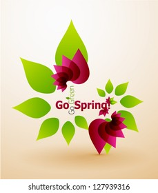 Go Green, Go Spring Nature concept. Spring flower environmental abstract background