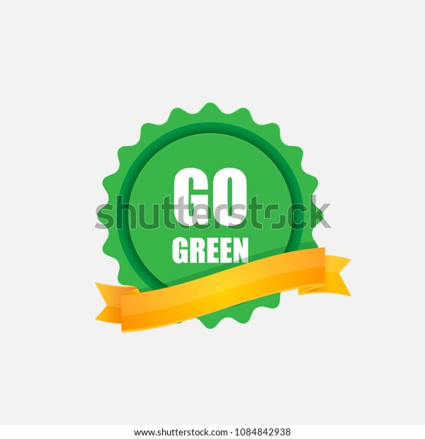 Go green sticker with a yellow ribbon