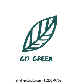 Go green Text,  Abstract Leaf