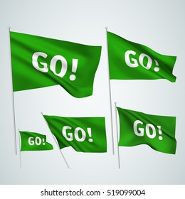 Go! - green vector flags. A set of 5 wavy 3D flags created using gradient meshes