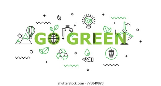 Go Green Word with Icon Set in Concept of Ecology and Green Energy . Flat Thin line designed vector illustration on white Background. Editable Stroke.