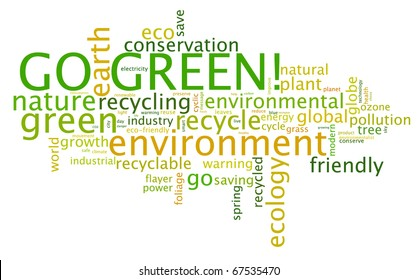Go Green. Words cloud about environmental conservation