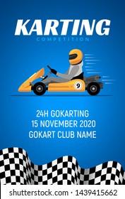 Go kart race background poster. Karting race car cartoon helmet driver sport backgorund.