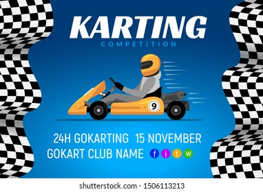 Go kart race background poster. Karting race car cartoon helmet driver sport backgorund.