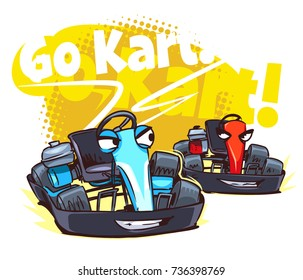 Go Kart Race. Cartoon illustration