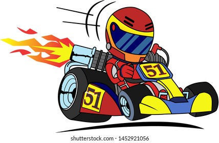 go kart racer vector cartoon illustration