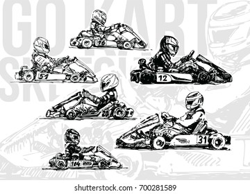 Go Kart Racers. Hand drawn illustration