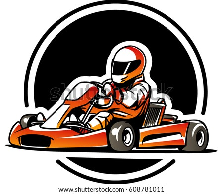 Stilig Go Kart Kart Racing Stock-Vektorgrafik (Lizenzfrei) 608781011 KB-14