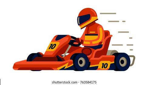 Go kart racing with racer in modern  flat style vector illustration