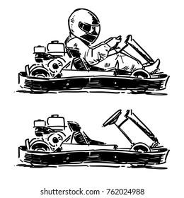 Go Kart sketch. Vector illustration side view