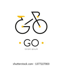 Go logo design template with bike. Isolated drawing for use as an icon, logo, identity, in web and application design, for printing on various media and more