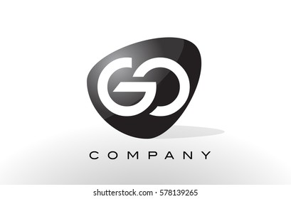 GO Logo. Letter Design Vector with Oval Shape and Black Colors.