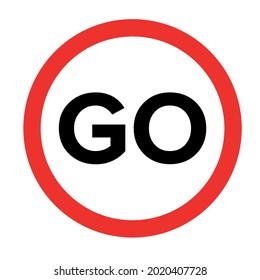 Go outline vector icon. Pushbutton. Warning symbol. Flat simple line design illustration.