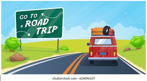 Go to a road trip, vector illustration