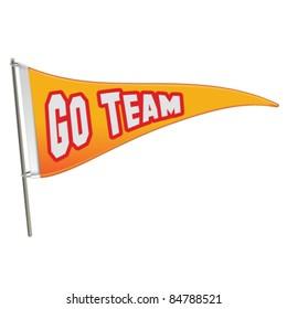 Go Team Triangle Banner Flag - Vector Illustration