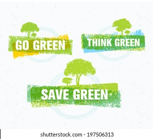 Go, Think, Save Green Eco Tree Recycling Concept on Organic Paper Background
