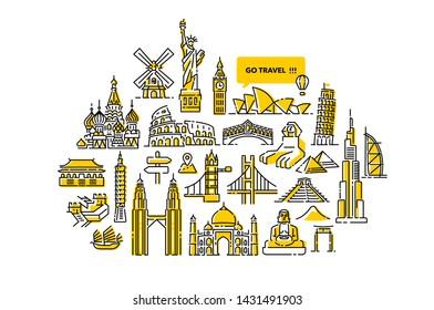 Go Travel Arround the World Illustration Designs