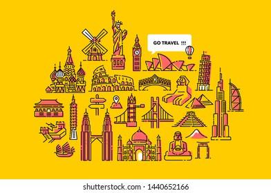 Go Travel Arround the World Illustration Designs Yellow Background