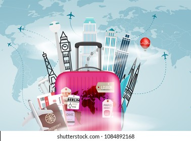 Go travel concept. Vector illustration with the bag