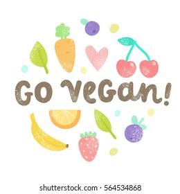 Go vegan art. Vector hand drawn illustration