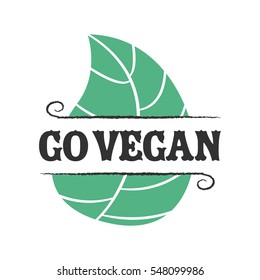 Go vegan icon with leafs on white background