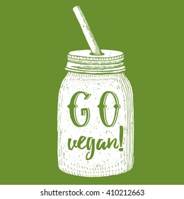 Go vegan poster in vintage style, vector illustration with jar with star