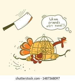 Go vegan. Thanksgiving turkey bird runs away from the ax on color symbol vector illustration