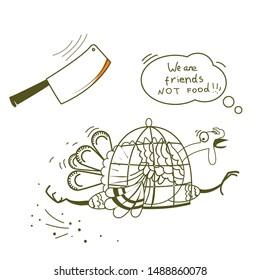 Go vegan. Thanksgiving turkey bird runs away from the ax on vector illustration isolated