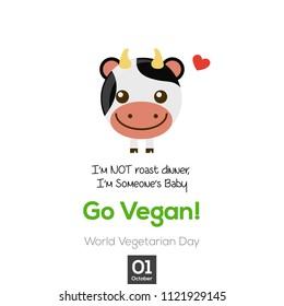 Go vegan vector illustration. vegetarian day design for greeting cards, posters, clothing, t-shirt, web