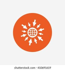 Go to Web icon. Globe with mouse cursor sign. Internet access symbol. Orange circle button with icon. Vector