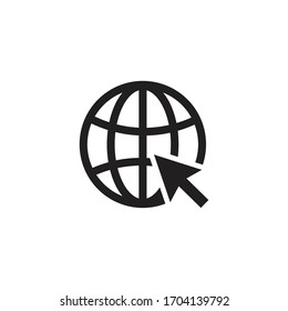 go to web icon symbol,  vector flat design Illustration