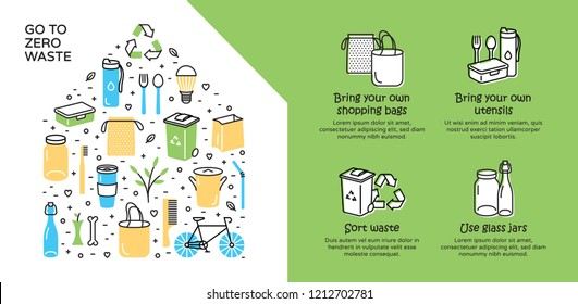 Go To Zero Waste background template. Vector illustration icon set poster with place for text. No Plastic and Go Green concept. Color design banner template of  Refuse Reduce Reuse Recycle Rot