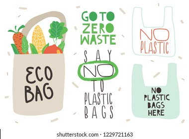 """Go To Zero Waste"", ""No Plastic"" slogan design. Vector illustration. Set of Eco illustration elements and typography."