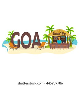 Goa. India. Beach Bar. Travel. Palm, drink, summer, lounge chair, tropical.