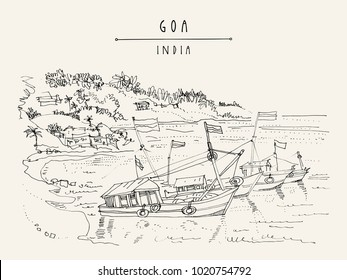 Goa, India. Fishing boats with flags in harbor in Arabian sea. Travel sketch. Vintage hand drawn postcard in vector