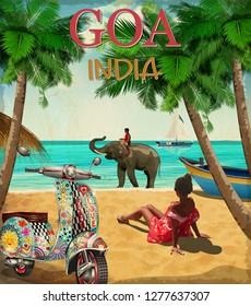 Goa. India vector poster.