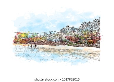 Goa, India. Watercolor splash with hand drawn sketch illustration in vector.