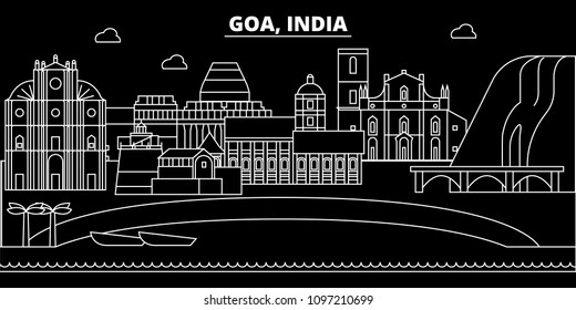 Goa silhouette skyline. India - Goa vector city, indian linear architecture, buildings. Goa travel illustration, outline landmarks. India flat icons, indian line banner