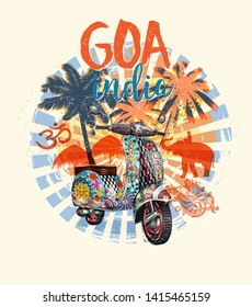 GOA,India typography for t-shirt print with beach,palm,elephant and retro scooter.Vintage poster.