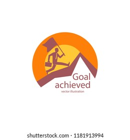 Goal achieved icon. Businessman with a flag runs to the top of the mountain. Achieving a high result. Peak of success. Vector illustration flat design. Isolated on white background. Business logo.