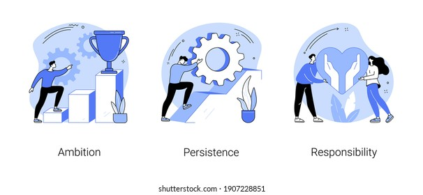 Goal achievement abstract concept vector illustration set. Ambition, persistence and responsibility, making fast career, self-confident, motivation and determination, success abstract metaphor.