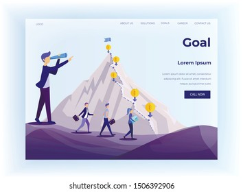 Goal Achievement in Business and Career. Flat Design Landing Page. Cartoon Worker Characters Climbing Mountain via Dollar Pins Sign. Leader Leads Team to Success. Vector Metaphor Illustration