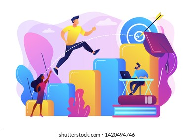 Goal achievement, career promotion, school graduation. Educational trajectory, educational capital strategy, determine your educational way concept. Bright vibrant violet vector isolated illustration