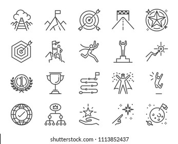 Goal and achievement icon set. Included the icons as achieve, success, target, roadmap, finish, celebrate, happy and more.