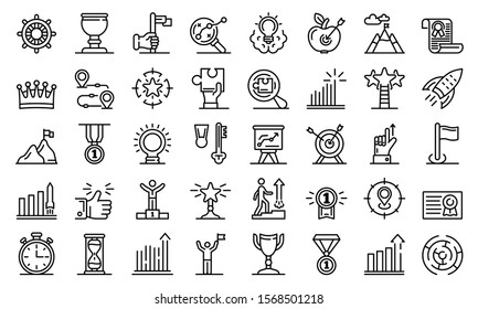 Goal achievement icons set. Outline set of goal achievement vector icons for web design isolated on white background
