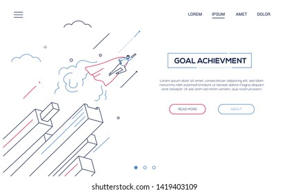 Goal achievement - line design style isometric web banner on white background with copy space for text. A header with businessman in a superhero cape flying. Leadership, motivation, ambition theme
