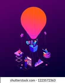 Goal achievement - modern isometric vector colorful illustration