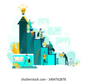 Goal achievement and teamwork business concept, career growth and cooperation for development of project, idea vector flat cartoon illustration. Ladder of success and people working at every step