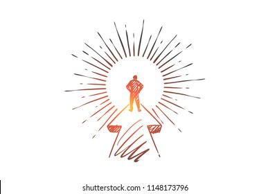 Goal, career, startup, leader, businessman concept. Hand drawn purposeful businessman on his way concept sketch. Isolated vector illustration.