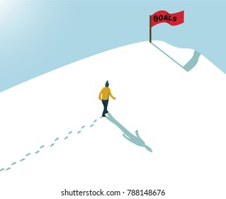 goal concept achieve reach the target one man alone walking in snow up to hill mountain with red flag sign text goals